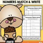 Fall Numbers Match & Write Freebie