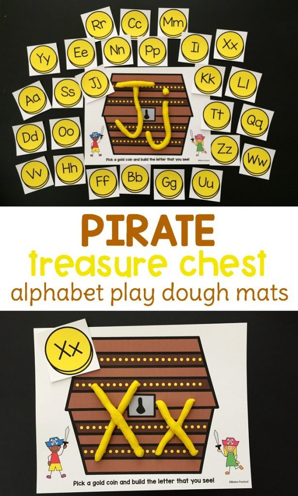 If you have a pirate fan in your house, don't miss these fun Pirate themed Alphabet Playdough Mats! :: www.thriftyhomeschoolers.com