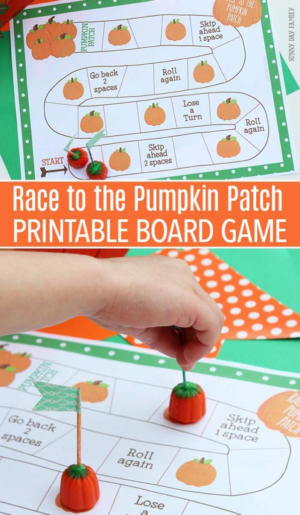 Little ones are sure to love this adorable Race to the Pumpkin Patch printable board game! :: www.thriftyhomeschoolers.com