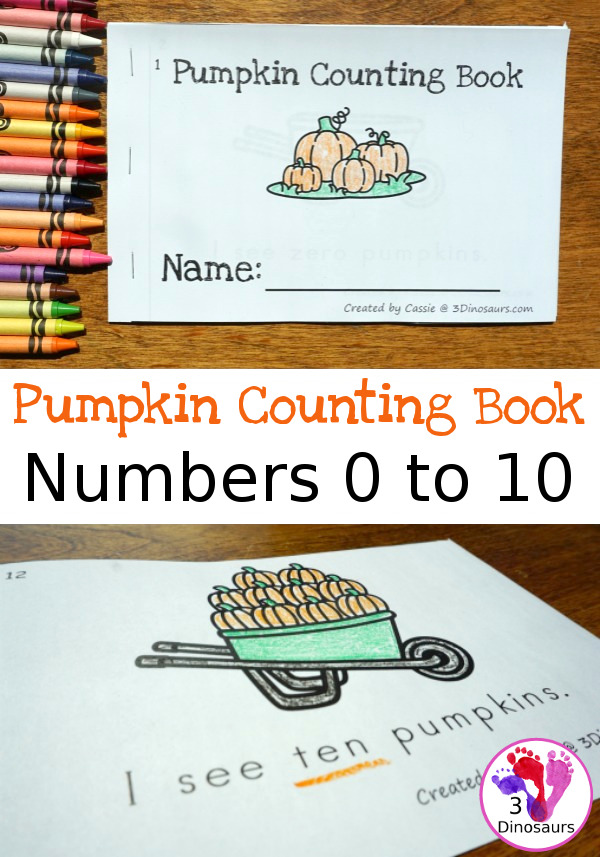 Little ones will have working on their reading and counting skills with this printable Pumpkin Counting Book! :: www.thriftyhomeschoolers.com