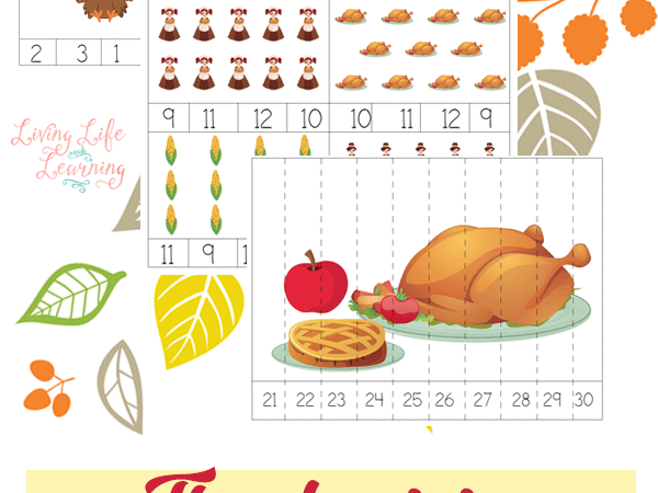 Free Thanksgiving Counting Cards & Puzzles