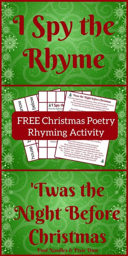 Night Before Poetry Rhyming Activity