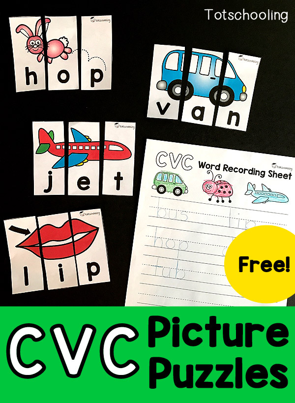 Working on those CVC Words? These printable puzzles are sure to help your little ones learn those CVC Words, plus spelling with the extra printable recording worksheet! :: www.thriftyhomeschoolers.com