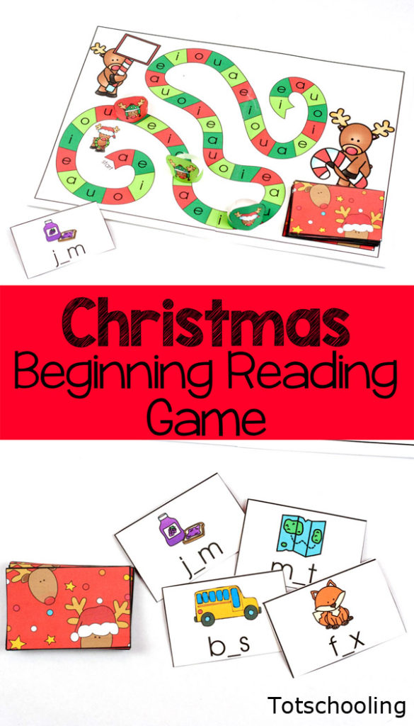 What kid wouldn't want to practice their CVC reading skills with this adorable Christmas Reading Game. :: www.thriftyhomeschoolers.com
