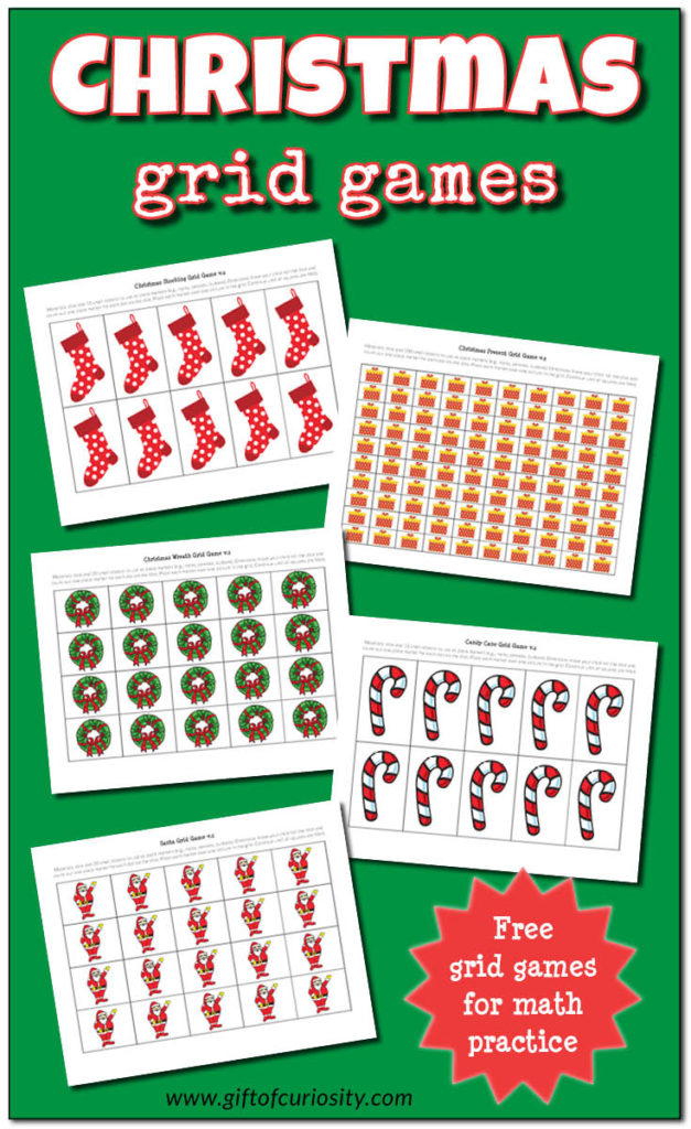 Help your little ones work on their counting and basic math skills with these printable Christmas themed math grids. Include grids for 10, 20 and 100. :: www.thriftyhomeschoolers.com