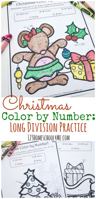 If you're working on long division, this no-prep Christmas themed Color by Number set is perfect! :: www.thriftyhomeschoolers.com