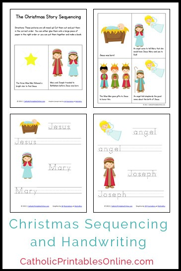 Help reinforce the Christmas story from the Bible with these printable sequencing and handwriting worksheets. :: www.thriftyhomeschoolers.com