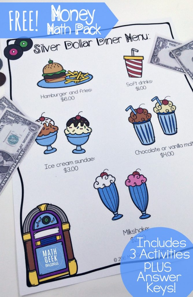 Kids will love practicing the money addition skills with these printable Silver Dollar Diner Math Pack worksheets! :: www.thriftyhomeschoolers.com