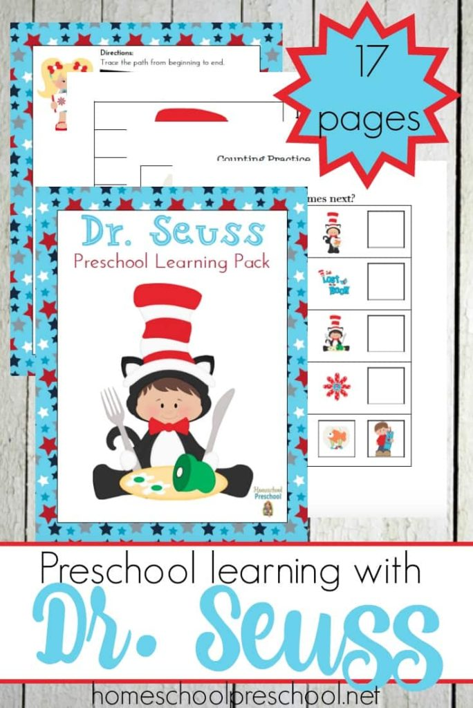 Who doesn't love Dr Seuss! This fun Preschool Learning Pack is perfect for all year learning fun! :: www.thriftyhomeschoolers.com