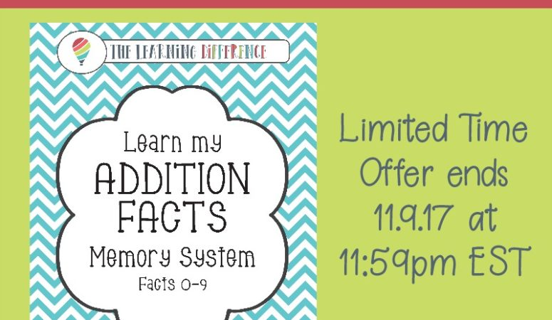Learn My Addition Facts Limited Time Freebie ($15.99 value)