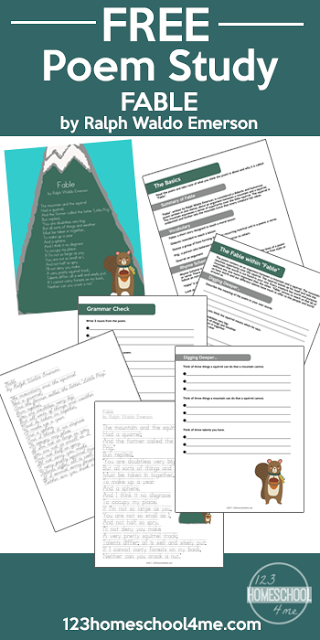 Introduce children to Fable by Ralph Waldo Emerson with this printable poetry study freebie. It includes copywork, grammar and vocabulary and much more! :: www.thriftyhomeschoolers.com