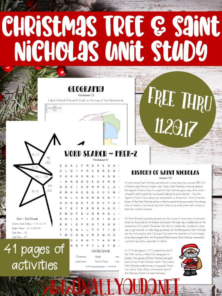Teach your kids about the history of the Christmas Tree & Saint Nicholas the man, with this unit study. HURRY...it's only FREE for a limited time thru November 20th! :: www.thriftyhomeschoolers.com