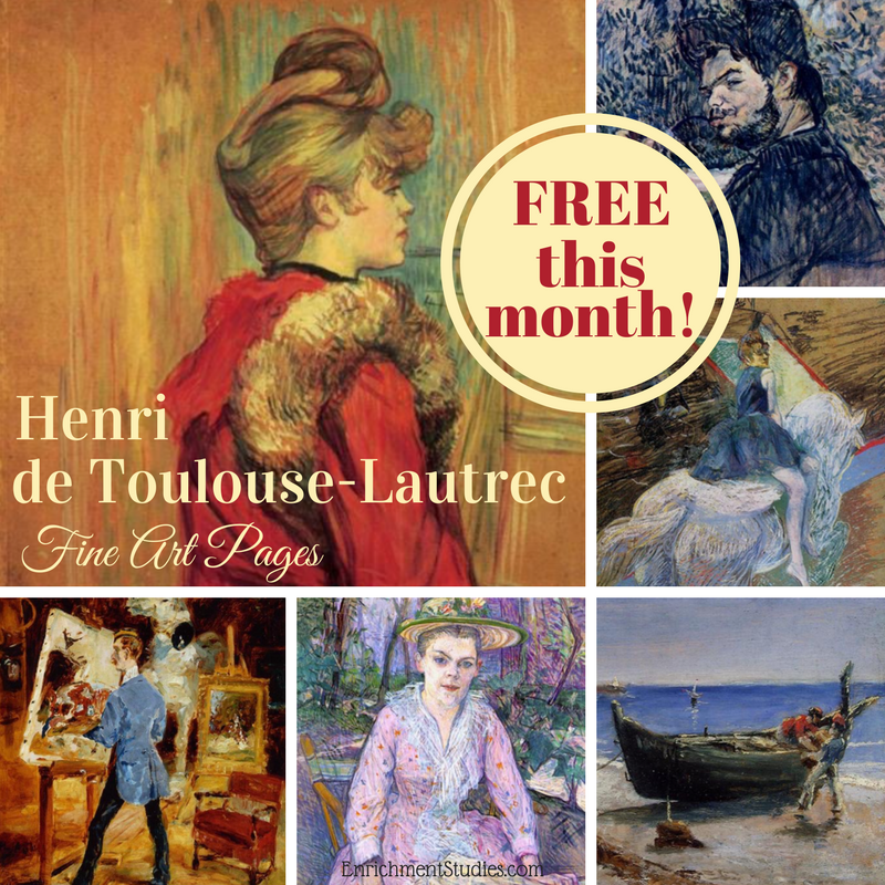 This month you can get 10 printable pieces from Post-Impressionist, Henri de Toulouse-Lautrec. :: www.thriftyhomeschoolers.com