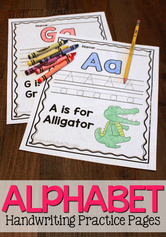 Are you working on letter recognition or handwriting skills? These printable Alphabet Practice Pages are perfect for Preschool and Kindergarten! :: www.thriftyhomeschoolers.com
