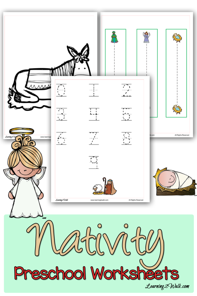 These printable Preschool Nativity Worksheets are perfect for both church and home. They include tracing, playdough, coloring pages and more! :: www.thriftyhomeschoolers.com
