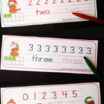Free Christmas Owl Write & Wipe Number Mats
