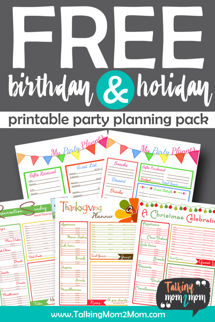 Don't stress over your next birthday party or family gathering. These FREE printable planning pages can help! :: www.thriftyhomeschoolers.com