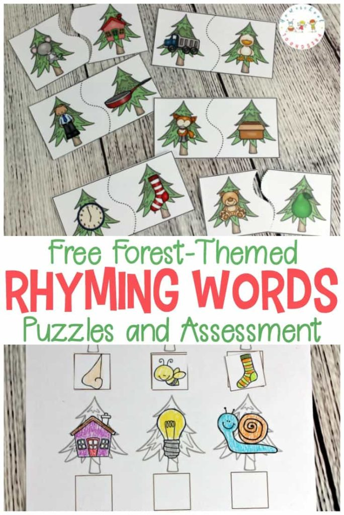 Working on rhyming words? These Forest-Themed Rhyming Words puzzles are perfect for a fun review! :: www.thriftyhomeschoolers.com