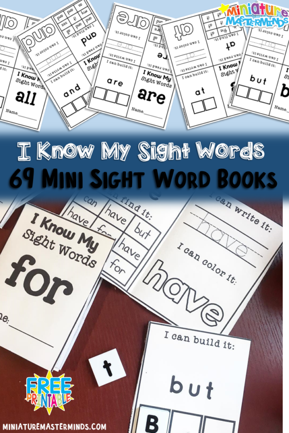photograph regarding Printable Mini Booklets named Cost-free Sight Phrase Mini Booklets - Thrifty Homeschoolers