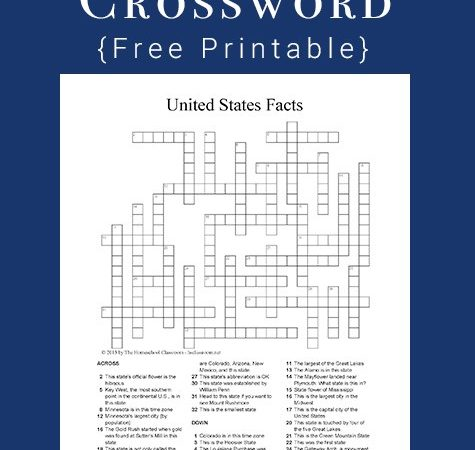 Free U.S. State Facts Crossword Printable