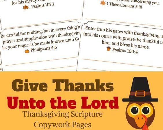 Free Thanksgiving Scripture Copywork
