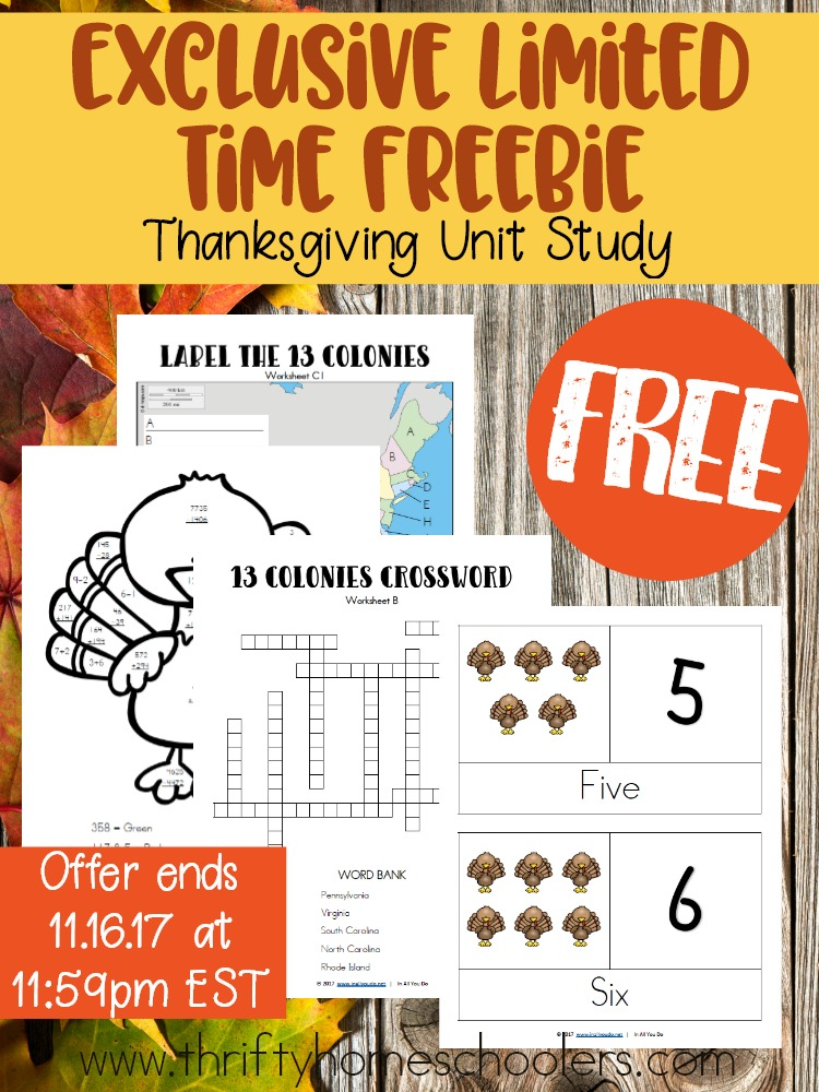 Looking for a fun way to add school during the busy Thanksgiving season? This Thanksgiving Unit Study is the answer! Get it FREE right now for 7 days only! Offer ends 11.16.17 at 11:59pm EST! :: www.thriftyhomeschoolers.com