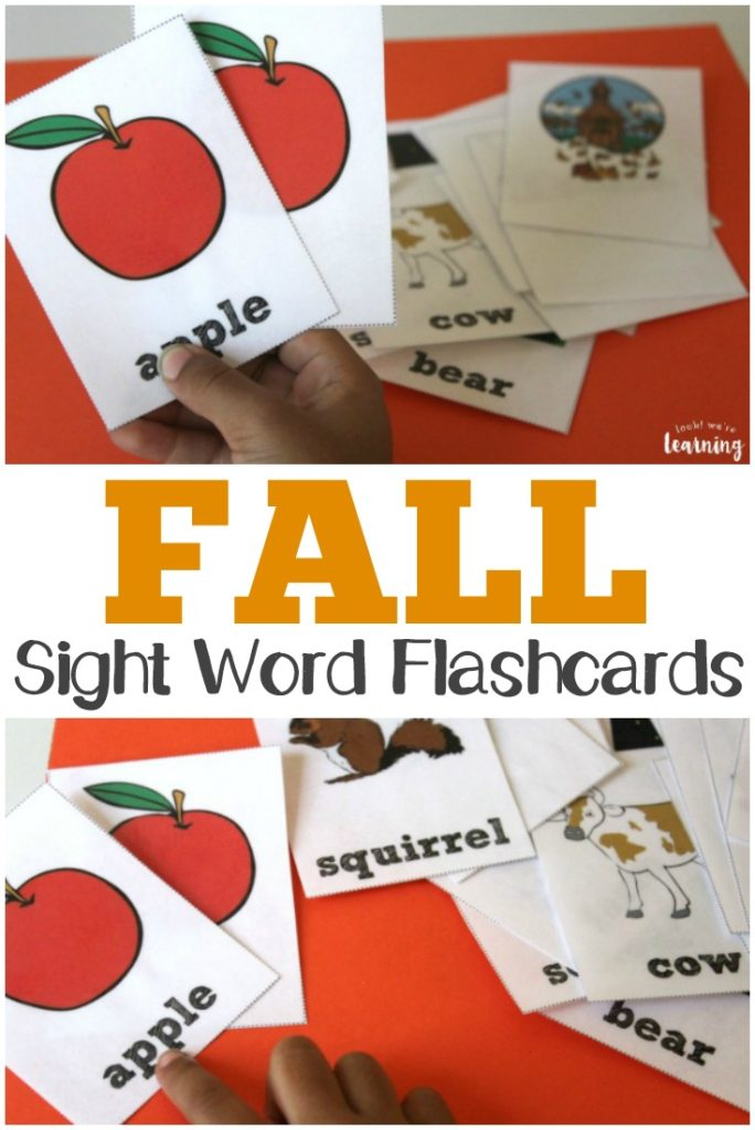Do you love using flashcards in your homeschool? These printable Fall Sight Word Flashcards are perfect for this time of year! :: www.thriftyhomeschoolers.com