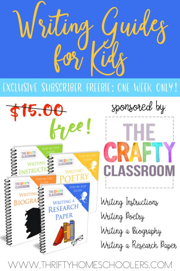 Do you want your children to know how to write well, but not sure where to start? Don't miss this week's EXCLUSIVE LIMITED TIME FREEBIE Writing Bundle, sponsored by The Crafty Classroom! Hurry...offer ends 11.23.17 at 11:59pm EST (that's Thanksgiving night)! :: www.thriftyhomeschoolers.com
