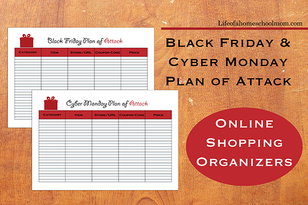 Be sure to plan out your purchases for Black Friday & Cyber Monday with these printable planners, so you don't miss the best deals! :: www.thriftyhomeschoolers.com