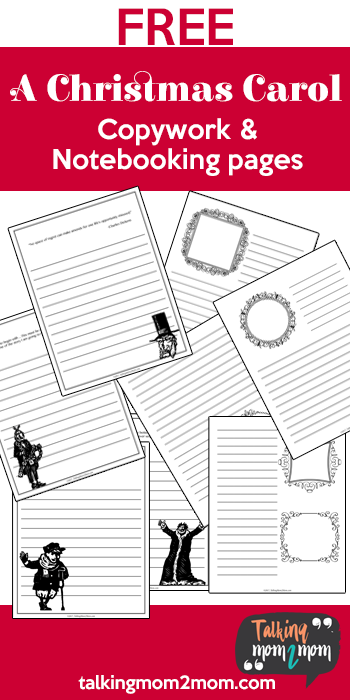 """If you love the Dickens' classic, """"A Christmas Carol"""", don't miss this free copywork and notebooking pages set! :: www.thriftyhomeschoolers.com"""