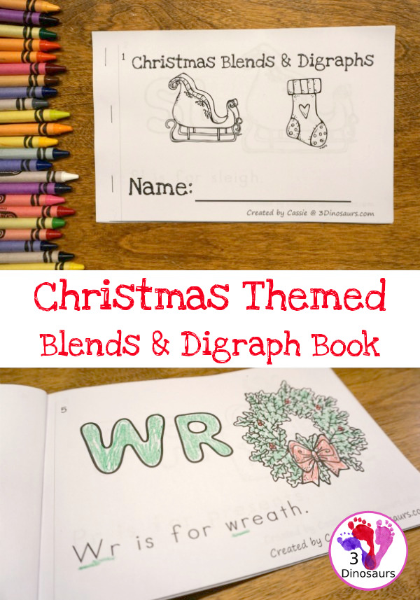 Make learning blends & digraphs fun with this printable Christmas Themed book! :: www.thriftyhomeschoolers.com