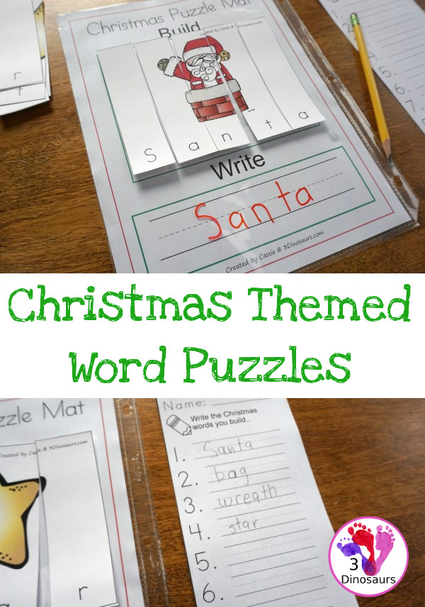 Kids will love working on new words with these printable Christmas themed word puzzles! :: www.thriftyhomeschoolers.com