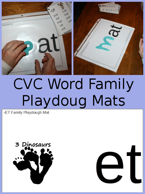 Working on reading CVC words? Check out this huge list of CVC Word Family Playdough Mats to help little ones! :: www.thriftyhomeschoolers.com