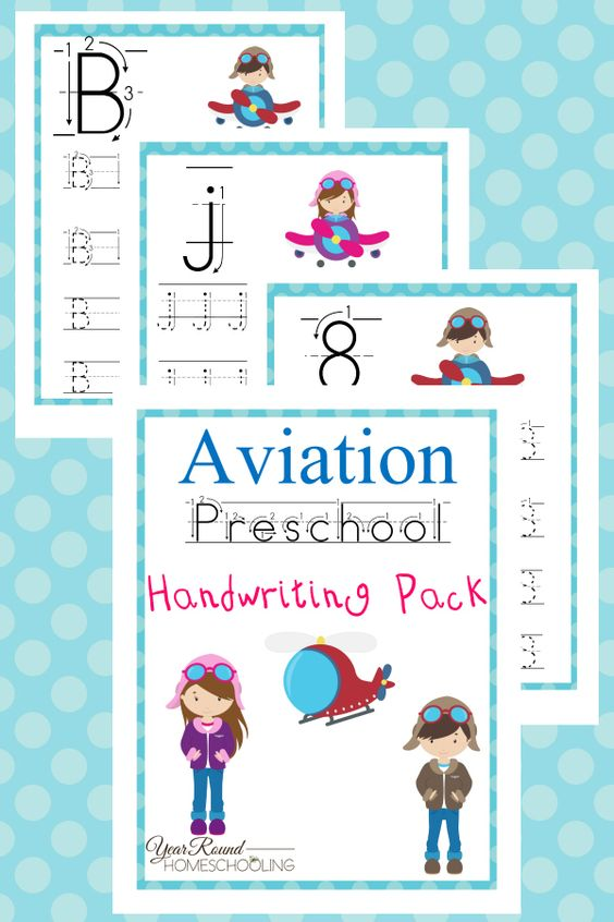 This Aviation Preschool Handwriting Pack is the perfect addition to any transportation unit study! :: www.thriftyhomeschoolers.com