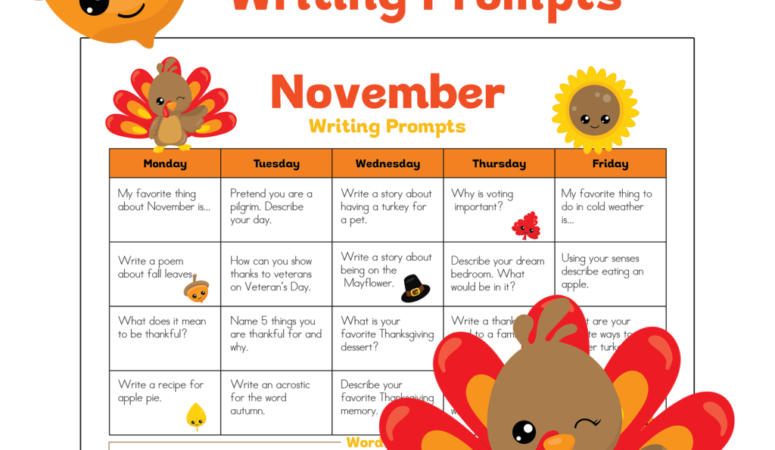 Free November Writing Prompts Calendar