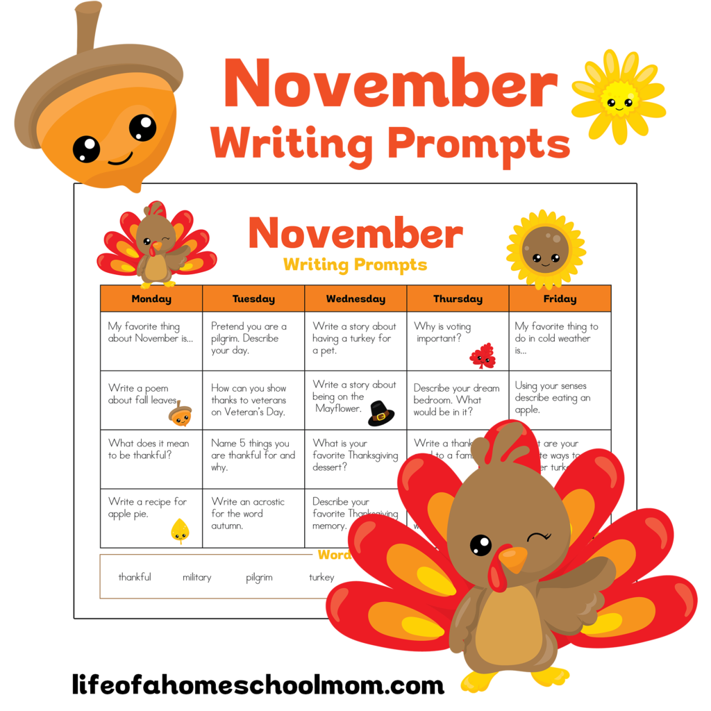 writing prompts for november We publish new creative writing prompt photos or words every week all entries posted on our writing prompts page are also eligible for our competition.