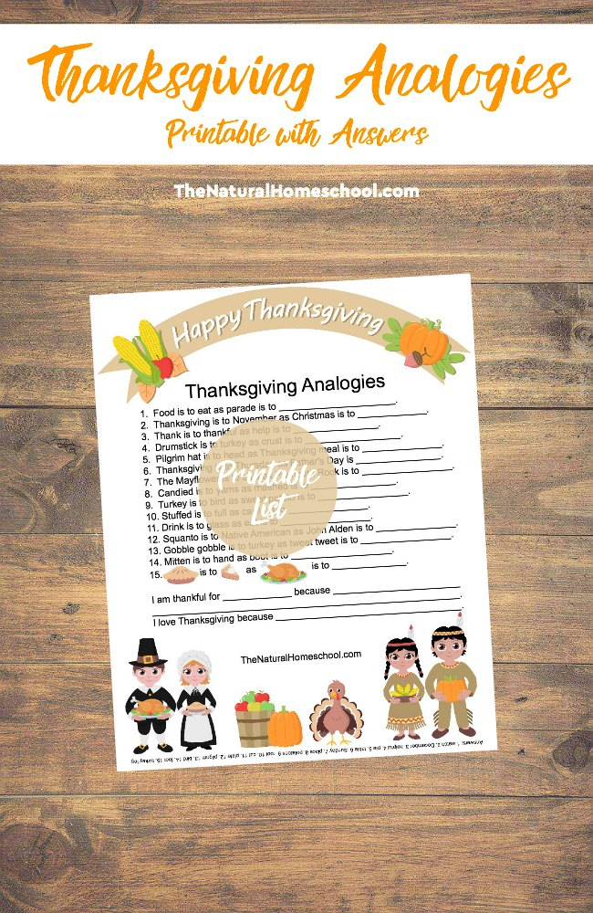 Do your kids know what analogies are? These Thanksgiving Analogies are a fun way to introduce them. Play them with family and friends or just for fun! :: www.thriftyhomeschoolers.com