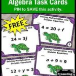 Free Algebraic Expressions Task Cards for Multiplication and Division