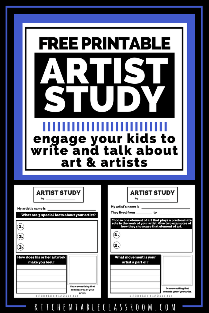 Hopefully as your student learns more about an artist and their life, they can begin to discern the different types of art. This printable artist study is a great starting point for Middle and High Schoolers. :: www.thriftyhomeschoolers.com