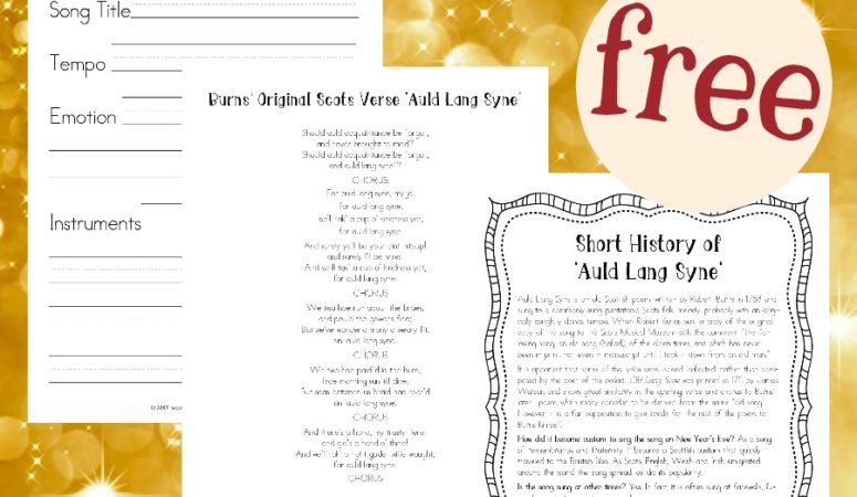 Free Auld Lang Syne Mini Music Study