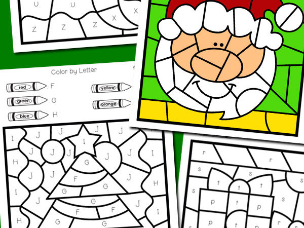 Free Christmas Color by Letter