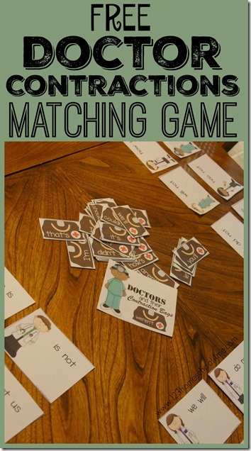Working on contractions? They can be tricky for some kids, so why not make learning and practicing them more fun! Try this printable Doctor themed Contractions Matching Game for 2nd - 5th graders. :: www.thriftyhomeschoolers.com