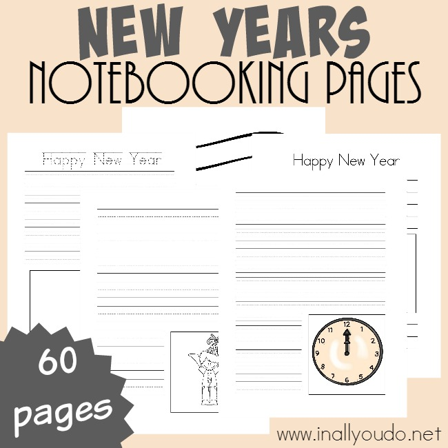 These New Years themed Notebooking Pages are perfect for the first week back to school. They can be used to share their hopes and dreams for the new year or memories of the year past. :: www.thriftyhomeschoolers.com