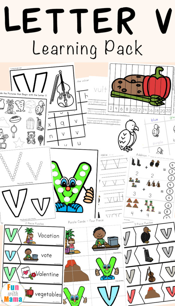 For some reason, the letter V is one of the harder ones for my kids to hear, especially when added in to words. This printable set of Letter V Worksheets has so many activities to help and kids will love them! :: www.thriftyhomeschoolers.com