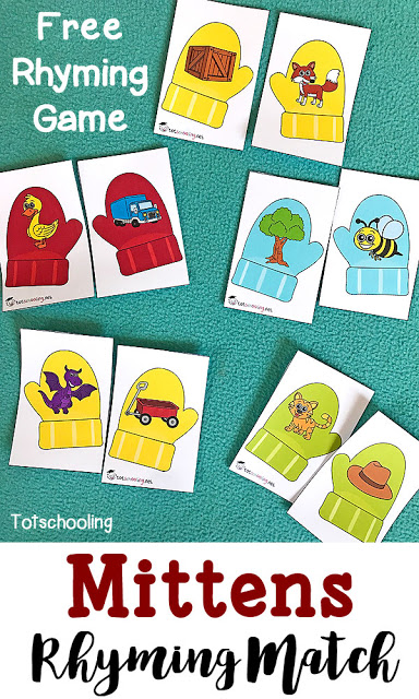 These Mittens Rhyming Match printables are a fun way to work on those rhyming skills! Plus...they're perfect for winter! :: www.thriftyhomeschoolers.com