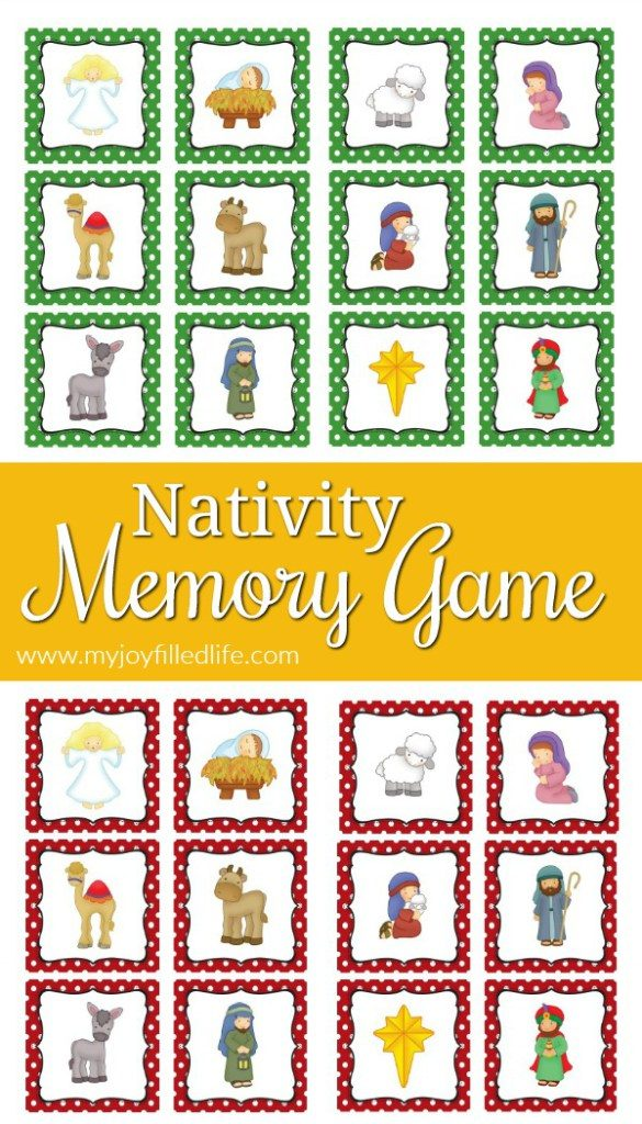 picture regarding Printable Memory Games for Adults known as Totally free Printable Nativity Matching Match - Thrifty Homeschoolers