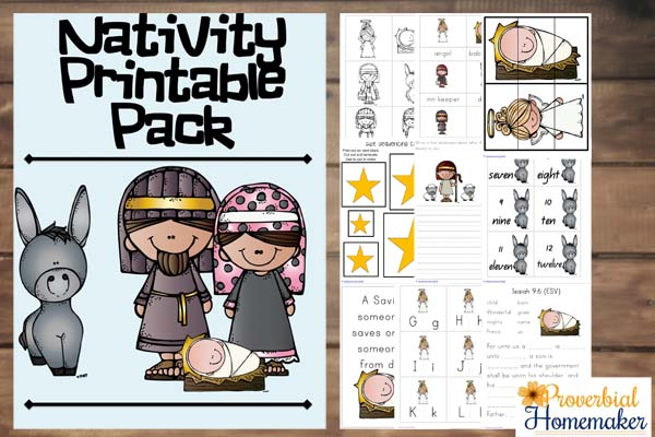 This Nativity Printable Pack is perfect for kids ages 3-8 and includes over 70 pages of puzzles, 3 part cards, coloring & writing pages, number cards and much more! :: www.thriftyhomeschoolers.com