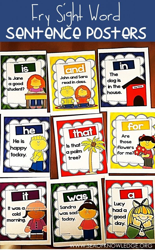 These free Fry Sight Word Sentence Posters with high frequency sight words kids will need to know and recognize quickly are perfect for young readers. :: www.thriftyhomeschoolers.com