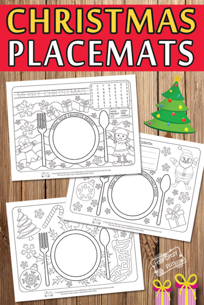 These printable Christmas Themed Placemats would be so fun to add to your Christmas festivities this year! Kids will love the word search, maze, coloring their own pictures and more! :: www.thriftyhomeschoolers.com