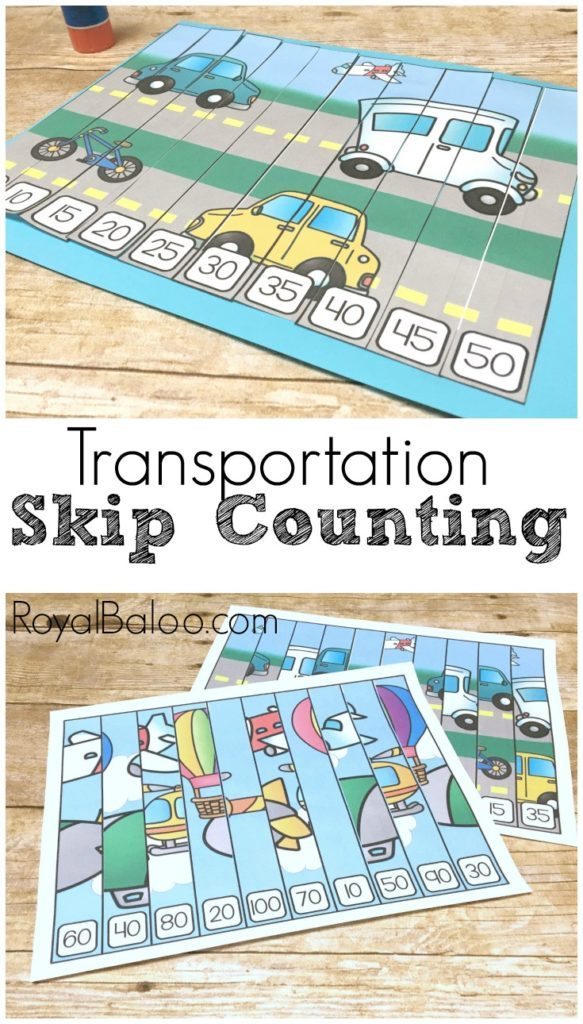 Are you working on skip counting? Do you have a child that loves cars and trucks? These adorable Transportation themed Skip Counting Puzzles are perfect for any unit or just for your preschooler to practice. :: www.thriftyhomeschoolers.com